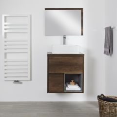 Milano Bexley - 600mm Open Vanity Unit with Square Countertop Basin - Dark Oak