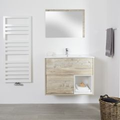 Milano Bexley - 800mm Open Vanity Unit with Basin - Light Oak
