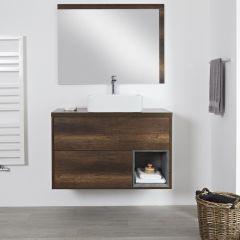 Milano Bexley - 1000mm Open Vanity Unit with Rectangular Countertop Basin - Dark Oak