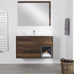 Milano Bexley -1000mm Open Vanity Unit with Basin - Dark Oak