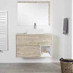 Milano Bexley - 1000mm Open Vanity Unit with Rectangular Countertop Basin - Light Oak