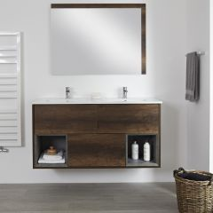 Milano Bexley - 1200mm Open Vanity Unit with Double Basin - Dark Oak