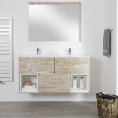 Milano Bexley - 1200mm Open Vanity Unit with Double Basin - Light Oak
