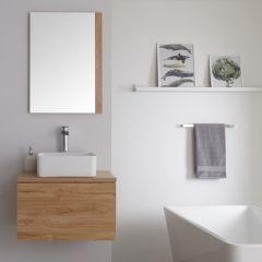 Milano Oxley - 600mm Modern Vanity Unit with Square Countertop Basin - Golden Oak