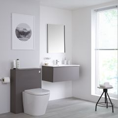 Milano Oxley 800mm Vanity Unit with Basin, WC Unit and Back to Wall Pan - Matt Grey
