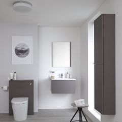 Milano Oxley - 600mm Vanity Unit with Basin, WC Unit and Back to Wall Pan, Storage Unit and Mirror - Matt Grey