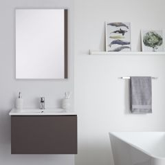 Milano Oxley - 600mm Modern Vanity Unit with Basin - Matt Grey