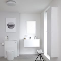 Milano Oxley - 800mm Vanity Unit with Basin, WC Unit and Back to Wall Pan, Storage Unit and Mirror - Matt White