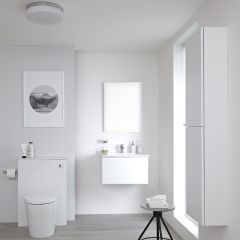 Milano Oxley - 600mm Vanity Unit with Basin, WC Unit and Back to Wall Toilet, Storage Unit and Mirror - Matt White