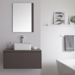 Milano Oxley - 800mm Modern Vanity Unit with Countertop Basin - Matt Grey