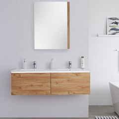 Milano Oxley - 1200mm Modern Vanity Unit with Double Basin - Golden Oak
