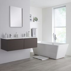 Milano Oxley - 1200mm Modern Vanity Unit with Double Basin - Matt Grey