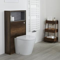 Milano Bexley - 1150mm Modern Open WC Unit - Dark Oak