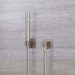 Milano Round Shower Kit with Integrated Outlet Elbow and Bracket - Brushed Nickel
