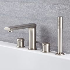 Milano Ashurst - Modern 4 Tap-Hole Deck Mounted Bath Shower Mixer Tap - Brushed Nickel