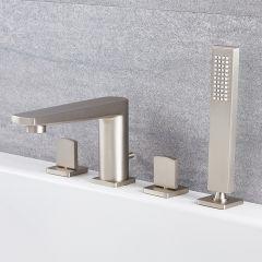 Milano Hunston - Modern 4 Tap-Hole Deck Mounted Bath Shower Mixer Tap - Brushed Nickel