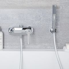 Milano Vora - Wall Mounted Bath Shower Mixer Tap with Hand Shower - Chrome