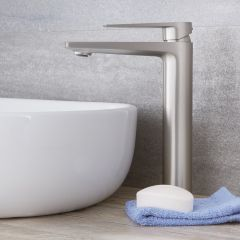 Milano Hunston - Modern High Rise Mono Basin Mixer Tap - Brushed Nickel