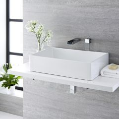Milano Westby 610mm Rectangular Countertop Basin with Parade Wall Mounted Tap