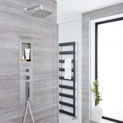 Milano Lisse Concealed Brushed Shower Panel with 200mm Square Head and Wall Arm