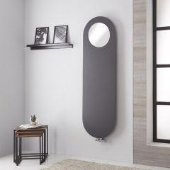 Lazzarini Way Vulcano - Anthracite Vertical Designer Radiator With Mirror - 1595mm x 495mm