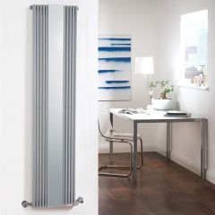 Milano Reflect - Silver Vertical Designer Radiator With Mirror - 1600mm x 420mm