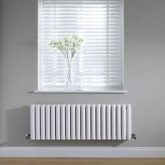 Milano Aruba - White Horizontal Designer Radiator - 400mm x 1180mm (Double Panel)