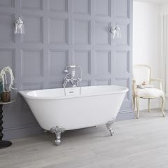 Milano - 1550 x 750mm Back To Wall Traditional Freestanding Bath wiith Choice of Feet