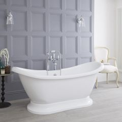 Milano Meldon - 1750 x 725mm Double Ended Freestanding Bath with Base