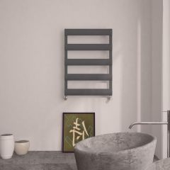 Milano Passo - Aluminium Anthracite Designer Heated Towel Rail - 790 x 500mm