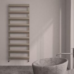 Milano Passo - Aluminium Brushed Chrome Heated Towel Rail - 1590mm x 500mm