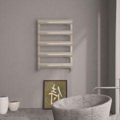 Milano Passo - Aluminium Brushed Chrome Designer Heated Towel Rail - 790mm x 500mm