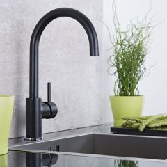 Milano Single Lever Kitchen Sink Mixer Tap with Swivel Spout - Black