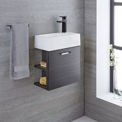Milano Linley 400mm Cloakroom Vanity Unit Grey
