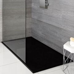 Milano Graphite Slate Effect Rectangular Shower Tray 1100x700mm
