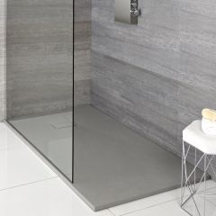 Milano Light Grey Slate Effect Rectangular Shower Tray 1100x700mm