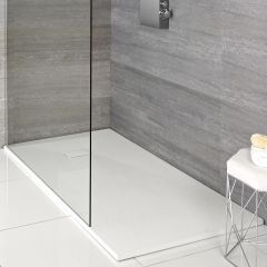 Milano Matt White Slate Effect Rectangular Shower Tray 1100x700mm