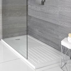 Milano Rectangular Walk-in Shower Tray with Drying Area 1400 x 900mm