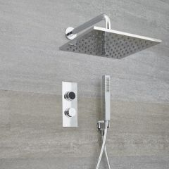 Milano Vis Two Outlet Digital Thermostatic Shower with Square Wall Mounted Head and Handset