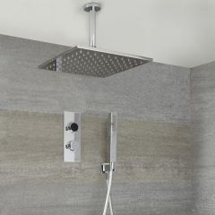 Milano Vis Two Outlet Digital Thermostatic Shower with Square Ceiling Mounted Head and Handset