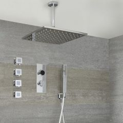 Milano Vis Three Outlet Digital Thermostatic Shower with Square Ceiling Shower Head, Handset and Body Jets