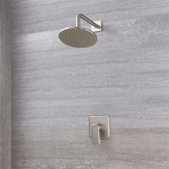 Milano Ashurst - Manual Shower Valve with 200mm Round Head - Brushed Nickel