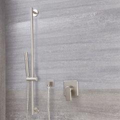 Milano Ashurst - Manual Shower Valve with Round Slide Rail Kit - Brushed Nickel