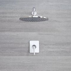 Milano Vora - Manual Concealed Shower Valve with 300mm Round Head and Arm - Chrome