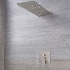 Milano Ashurst - Manual Diverter Shower Valve with Waterblade Shower Head - Brushed Nickel