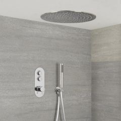 Milano Orta - 2 Outlet Push Button Shower Valve, Handset and 400mm Round Recessed Shower Head