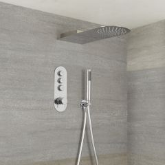 Milano Orta - 3 Outlet Push Button Shower Valve, Handset and Waterblade Shower Head
