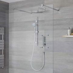 Milano Orta - 3 Outlet Push Button Shower Valve, Slide Rail Kit, 300mm Shower Head and Body Jets