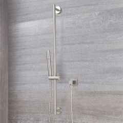 Milano Round Shower Slide Rail Kit - Brushed Nickel