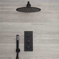 Milano Nero - Black Triple Thermostatic Shower Valve with 300mm Round Head and Hand Shower - Black